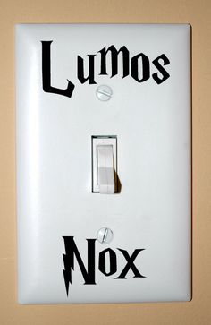 By Designs By Doty: Here is the vinyl decal to add some of magic to your light switch! For all the Harry Potter fanatics out there, this decal set is made out of high Idea: make a whole lightswitch plate, black with yellow (Lumos) and white (Nox) letters. Harry Potter Light, Cumpleaños Harry Potter, Lumos Nox, Classe Harry Potter, Harry Potter Classroom, Do It Yourself Inspiration, Mischief Managed, My New Room, Digital Signage