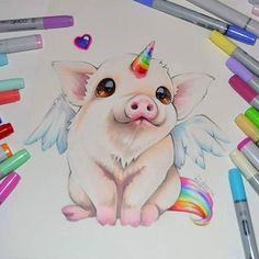 Hooray, I'm a Pigasus! I believe dreams do come true :) Just something cute and colorful for you to get through this cold winter's day <3 I don't draw enough cute animals - should definitely do more! What's your favorite animal?  #pig #swine #pegasus #rainbow #unicorn #animal #farm #dream #cute #kawaii #pet #lighanesartblog #lighane #dreamscometrue #sweet #adorable #art #traditional #artist #copic #marker #copicmarker