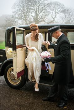 The Bride arriving at The Ceremony in a Vintage Car from All Occasion Cars.  Victoria Gray Photography, Vintage Wedding, Normanby Hall Scunthorpe.
