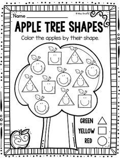 Apples Theme Shapes Activities for your Apples Unit : Apple tree ADORABLE color by shape worksheets that students will LOVE - perfect for fall back to school kindergarten and first grade activities Preschool Apple Theme, Preschool Classroom, Preschool Learning, Kindergarten Worksheets, In Kindergarten, Preschool Apples, Teaching, Apple Activities Kindergarten, Shapes Worksheet Preschool
