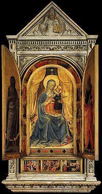 Il Tabernacolo dei Linaioli è un tempietto marmoreo di Lorenzo Ghiberti con pitture di BEATO ANGELICO - 1432-1433 - Museo nazionale di San Marco di Firenze