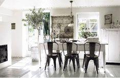 Suzie: modern farmhouse dining room design   Tolix Marais A Chairs, white farmhouse dining ...