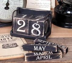 Rustic Black PERPETUAL WOOD BLOCKS CALENDAR Shabby Chic Country Decor by Prim and Proper Decor. $18.50. Shabby Chic Rustic Calendar. Enjoy for yeasrs and years!. Distressed to give it a Vintage Rustic look!. RUSTIC WHITE PERPETUAL CALENDAR measures 4 X 6 X 3 1/8.  Blocks made of wood. 6 total pieces