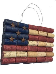 This is a handcrafted wine cork american flag! Indoor hanging wall art has a rustic, antique style. Securely fastened corks have a solid back frame with a wall hook attached....