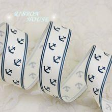 (5 metros/lote) 1 ''(25mm) Azul imprimió la cinta del grosgrain Ancla de Mar Serie de cintas de papel de regalo cintas(China (Mainland))
