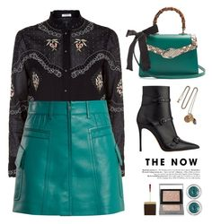 """""""BLACK/TEAL"""" by yexyka ❤ liked on Polyvore featuring Vilshenko, Prada, Gucci, Tom Ford, Charlotte Tilbury, Burberry and Alexander McQueen"""