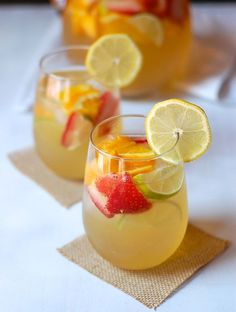 Limoncello Sangria Recipe Cocktails, Beverages with granulated sugar, water… Refreshing Summer Cocktails, Summer Drinks, Cocktail Drinks, Cocktail Recipes, Spiked Lemonade, Pineapple Lemonade, Frozen Lemonade, Rum Recipes, Summer Drink Recipes