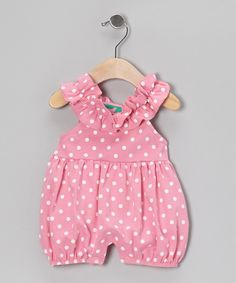 Take a look at this Pink & White Polka Dot Bubble Romper - Infant & Toddler on zulily today!