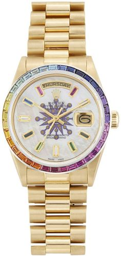 Rolex X Colette x Colette President Baguette Rainbow Watch Sport Watches, Cool Watches, Rolex Watches, Watches For Men, Mother Pearl, Gold Bands, Baguette, Gold Watch, Camouflage