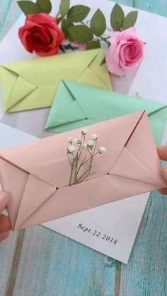 Fabric Flowers, Paper Flowers, Diy Envelope, Valentine Crafts, Handmade Flowers, Creative Gifts, Diy Crafts For Kids, Statue, Decoration