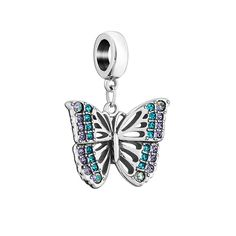 Show your true colors with the sterling silver Rainforest Butterfly Charm. This beautiful butterfly, the symbol of transformation and joy, features an assortment of Swarovski Crystals and has open filigree details along the wings.