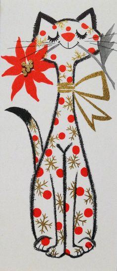 401 50s Mid Century Kitty Cat Vintage Christmas Card Greeting | eBay