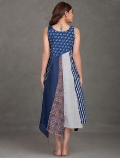 079ee4102e7dc Indigo Block Printed Thread Embroidered Upcycled Organic Cotton Dress  Patchwork Dress