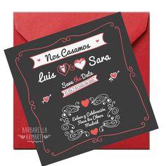 Invitación de boda de estilo retro . Sobre a conjunto color rojo