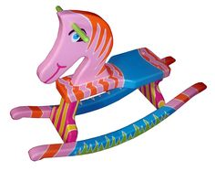 Cute hand painted rocking horse brilliant colors
