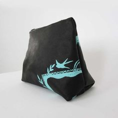 cosmetic bag  black leather clutch  custom purse by stitchandswash, $35.00