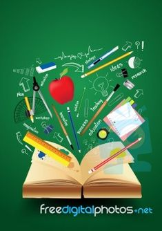 Book With School Supplies