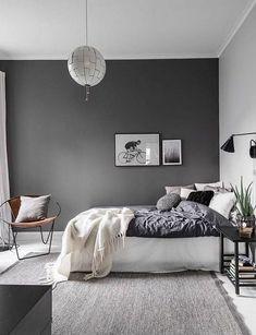 Comfy Minimalist Bedroom Design and Decor Ideas. minimalist bedroom diy Click image to read more details. Grey Bedroom Colors, Grey Bedroom Paint, Grey Room, Master Bedroom, Gray Paint, Dark Gray Bedroom, Cozy Bedroom, Gray Bedroom Decor, Bedroom Furniture