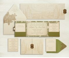 Luxury Wedding Invitations by Ceci New York - Our Muse - Italian Countryside Wedding. wedding, letterpress, gatefold, pocket, gold, green, luxury, invitation, italy, tuscany, il borro, ecru, venue, inspired, illustration, garden