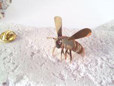 Honey Bee Brass Pin Brooch by SaeSumiKoru on Etsy, $55.00