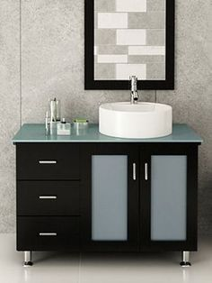 Photo Gallery For Website The inch La Lune Single Vanity With Glass Top in Espresso is one of our most popular modern bathroom vanities The solid oak green glass countertop