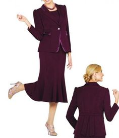 f29c0a8228f Satin Trimmed Jacket With Flared Hemline 3pc Skirt Suit