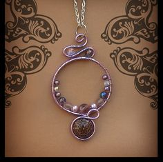 Lavender Circle Wire Wrapped Necklace-Art by dreamtrappings Artist: Natalie Ewert www.facebook.com/creatornat