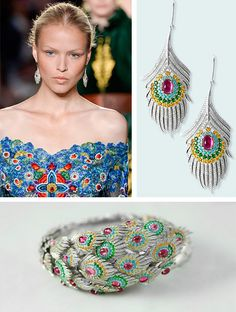 Jewelry suite inspired by the peacock