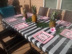 Flamingo Pink, Pineapple, Black and White Stripe Table.