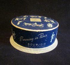 Evening In Paris Powder Box 1940s Bourjois Powder Container Dark Blue &…