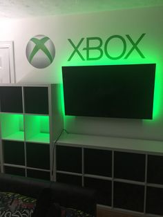 """Sons bedroom love his """"green"""" glow, goes well with the """"xbox"""", the shelves are Ikea kallax, with material boxes."""