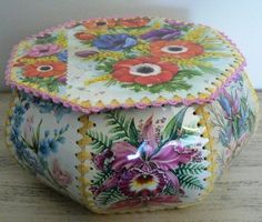 Box made from greetings cards - I still have some of these my grandma made. She was never one to waste anything - no idle time for those hands, either!