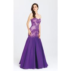 Madison James 16403 Prom Mermaid Dress Long Strapless Sleeveless ($538) ❤ liked on Polyvore featuring dresses, formal dresses, purple, mermaid formal gowns, mermaid prom dresses, prom dresses and strapless dress