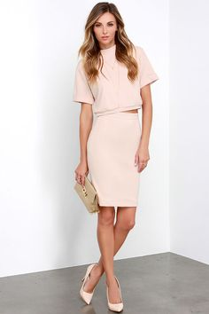 ::I love this nude sun dress that is actually in two pieces. When paired with nude heels this whole look is so elongating and chic::