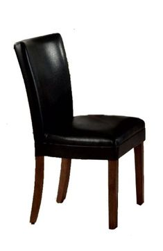 6 New Parson Chairs Black Leatherette With Cherry Wood Legs Coaster Home Furnishings Dining Room