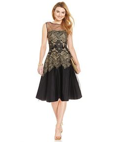 Tahari by ASL Metallic Embroidered Floral Dress - Dresses - Women - Macy's