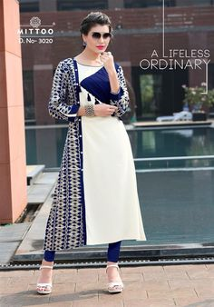 Buy latest Women's Kurtas & Kurtis from AKS, Imara, Aujjessa, Aurelia, Anouk at best price online in india. Dress Neck Designs, Kurti Neck Designs, Kurta Designs Women, Blouse Designs, Kurti Patterns, Dress Patterns, Printed Kurti Designs, Kurta Style, Mode Hijab