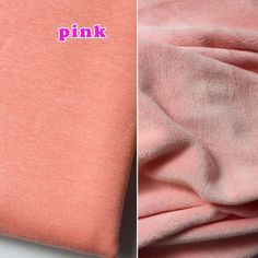 Pink cotton Knit fabric, Jersey Knit velvet fabric, Spandex Stretch Fabric. BTY