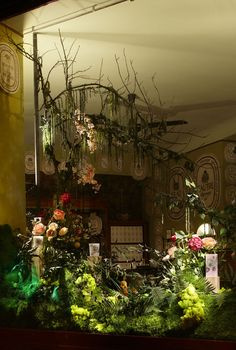 Diptyque flower window displays by Alexandre Roussard, Paris visual merchandising