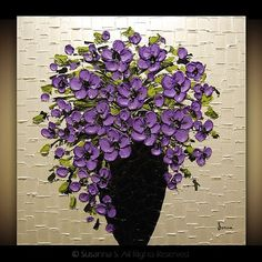 purple artwork | sold abstract purple black pearl white floral painting signature ...