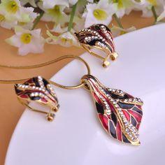 Classic Women Party Jewelry Sets Red Black Enamel Leaves Pendant Rhodium Plated Pendientes Brincos Elegant Necklace Earrings Set