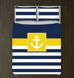Hey, I found this really awesome Etsy listing at https://www.etsy.com/listing/214192610/nautical-duvet-cover-wshams-anchor