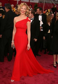 40 Dresses With Their Own Wikipedia Entries: Vermilion Escada Dress Of Katherine Heigl at the Academy Awards, February 2008.