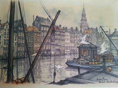 Amsterdam, het Damrak Amazing Paintings, Amazing Art, Anton Pieck, Holland Netherlands, City Painting, I Amsterdam, Dutch Painters, World Cities, Dutch Artists