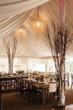 Photographer: Joel Bedford; Unique and chic wedding reception with brown and white details