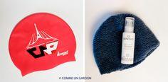COMME UN GARDON: LES CHEVEUX DE NATACHA Crème lactée Denovo et bonnet du Club des Nageurs de Paris !