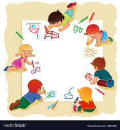 Happy children together draw on a large sheet of Vector Image Boy And Girl Drawing, Drawing For Kids, Art For Kids, Train Cartoon, Cartoon Kids, Kids Background, Cartoon Background, School Border, Boarder Designs