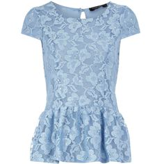 Blue glitter lace peplum top (135 ARS) ❤ liked on Polyvore featuring tops, blouses, shirts, blusas, cap sleeve shirt, lace peplum shirt, lace peplum top, dorothy perkins and glitter shirts