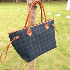 Large Capacity Cotton Canvas Plaid Bag PU Patchwork Handbag