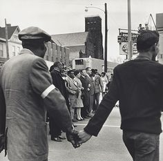 Bishop  Jordan, AME Baptist Church, T.O. Jones, Head of Sanitation Workers, Walter Reuther, United Auto Workers, Line Up to Lead Protest March After Death of Martin Luther King, Jr., Memphis, Tennessee, April 8, 1968, 1968, from I AM a Man portfolio, 1994